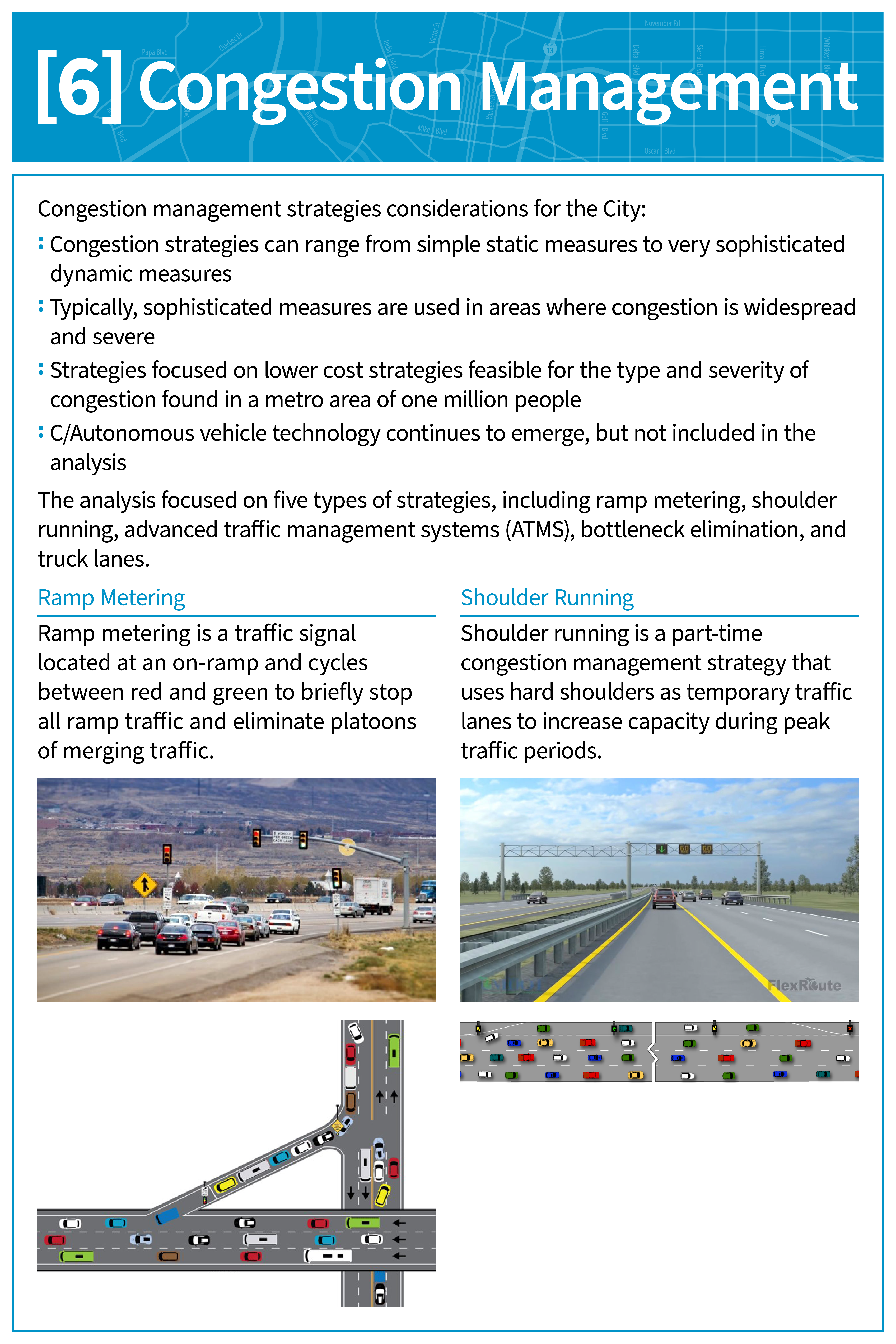 Congestion management board with sample copy and graphics.